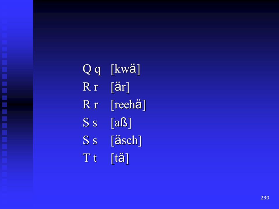 Q q [kwä] R r [är] R r [reehä] S s [aß] S s [äsch] T t [tä]